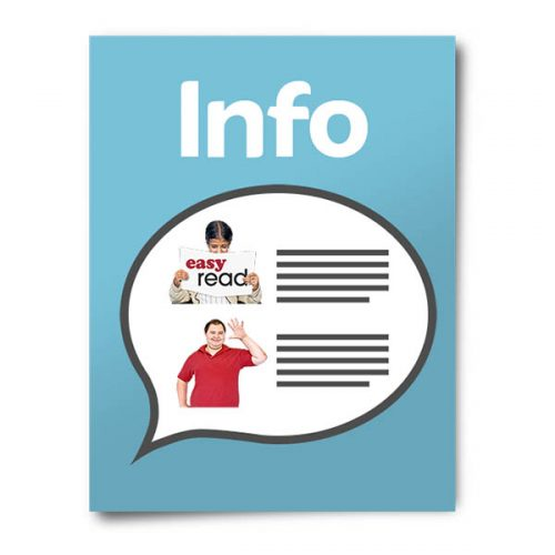 Picture of a booklet with title of info and speech bubble with images of a lady holding up an easy read sign and man waving.