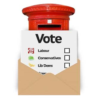 Picture of a voting card in an envelope in front of a letterbox