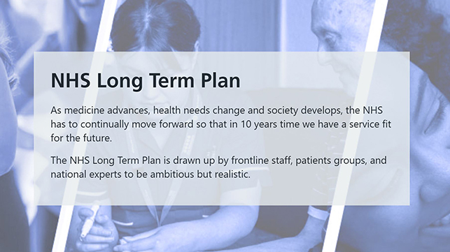 photo of the patients and description of the NHS long term plan