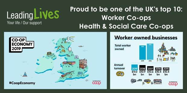 Image showing the map of the UK labelled, Leading Lives - proud to be one of the United Kingdom's top 10: Worker Co-ops, and Health and Social Care Co-ops