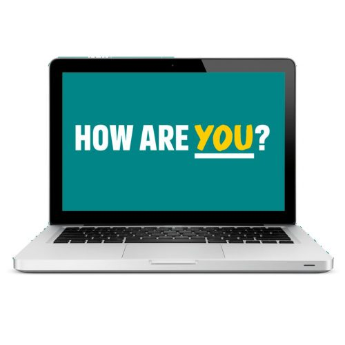 Laptop screen with How are you?