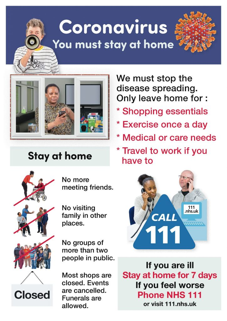poster about the coronavirus and staying at home. Full details in PDF