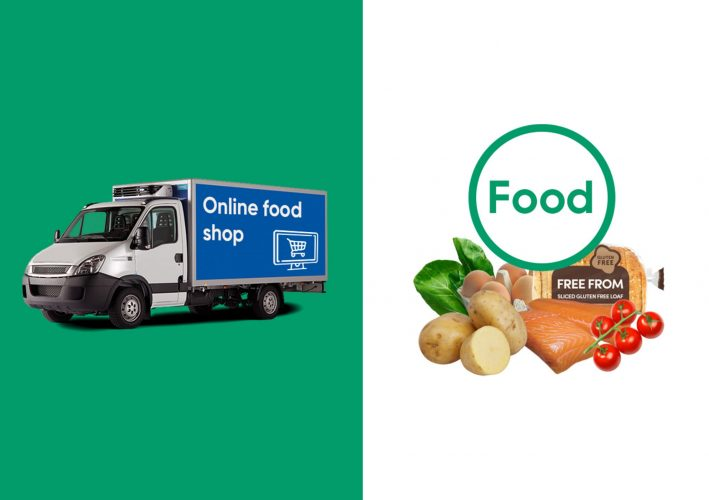 image of a food delivery van and some healthy food