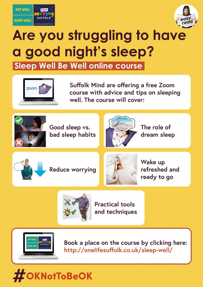 Thumbnail for Easy Read one-page sheet about Sleep Well online course