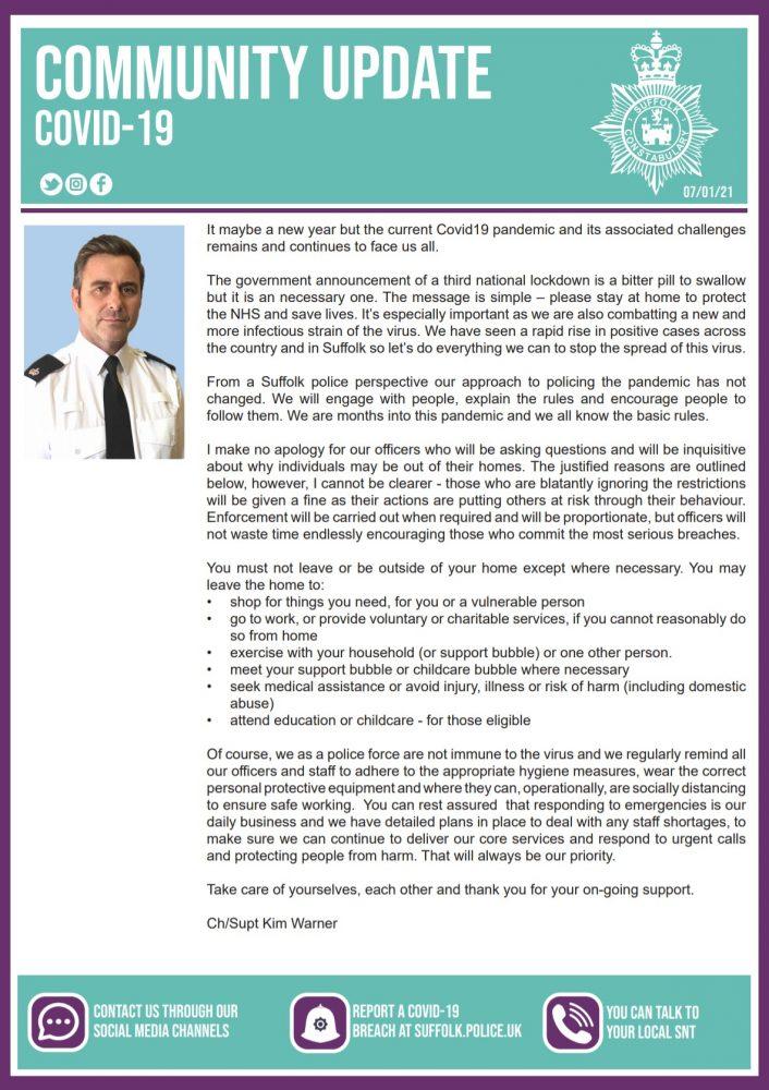 Suffolk Constabulary community update 6th Jan
