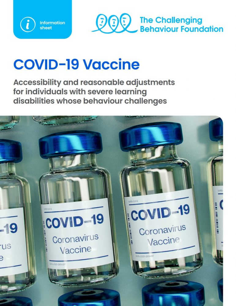 front cover of Covid19 vaccine, reasonable adjustments information sheet