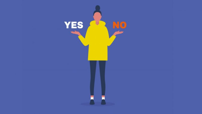 illustration of girl deciding yes or no